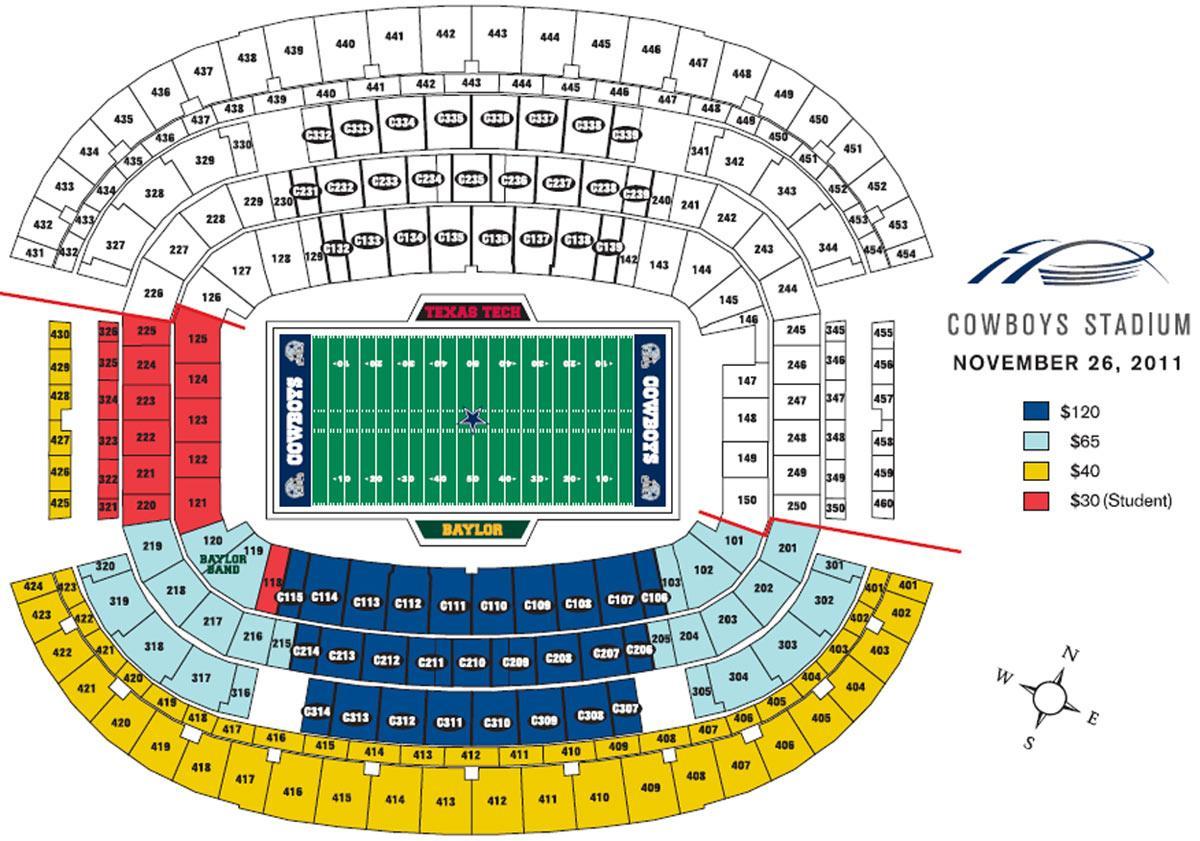 Dallas Cowboys seat map - Dallas Cowboys stadium seat map (Texas - on