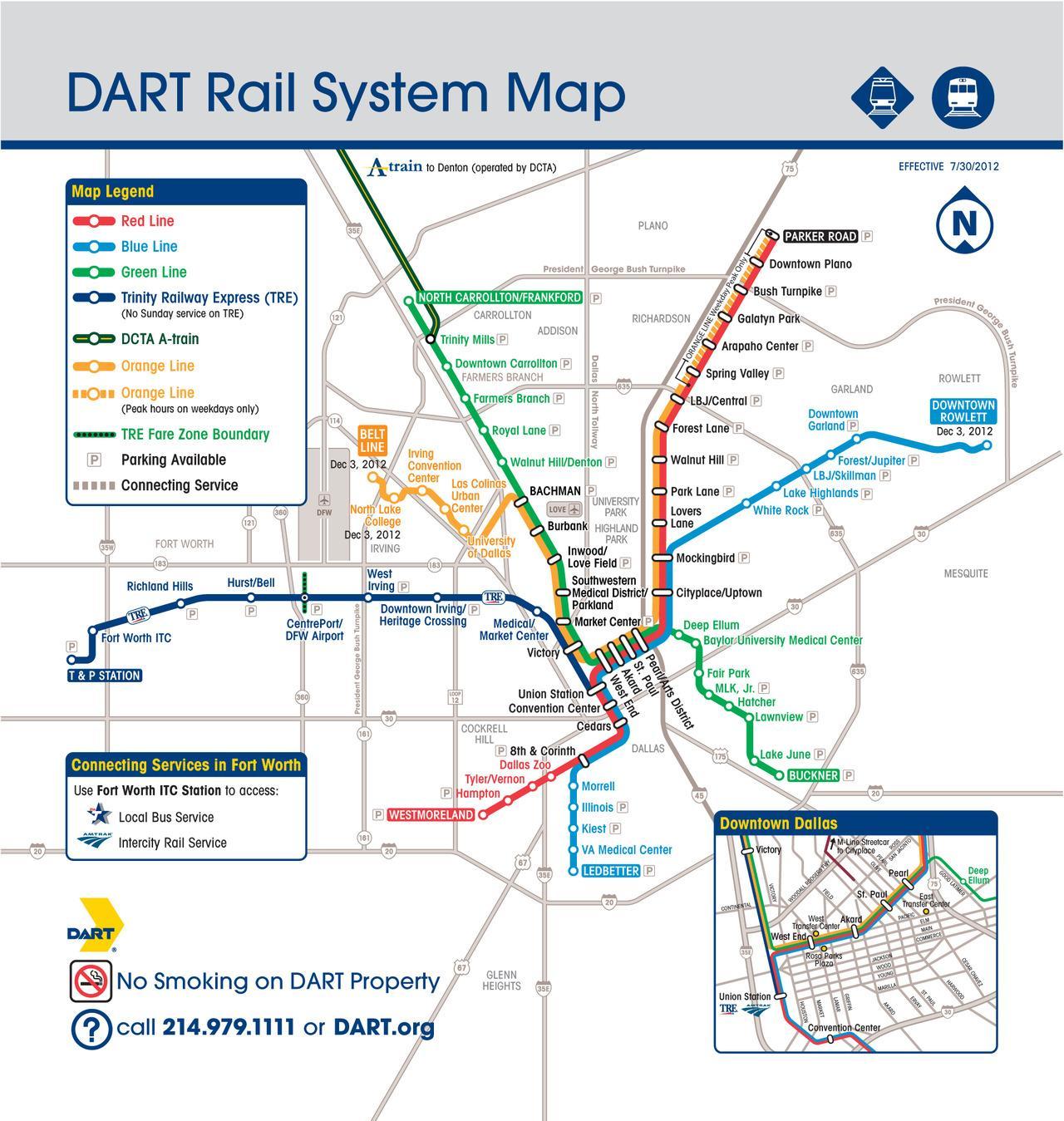 Dallas dart map Dallas dart rail map Texas USA
