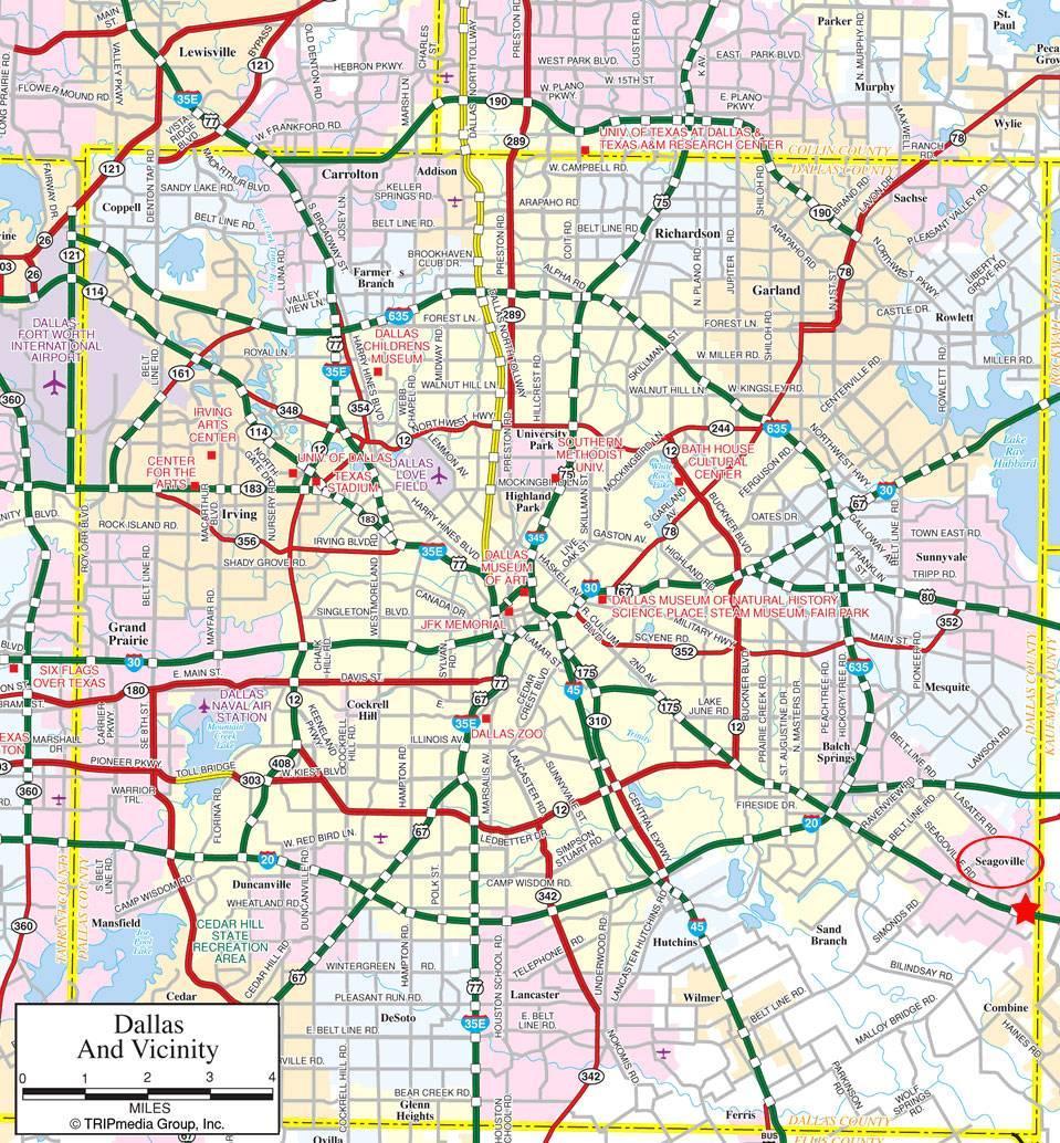 Dallas suburbs map - Map of Dallas suburbs (Texas - USA)