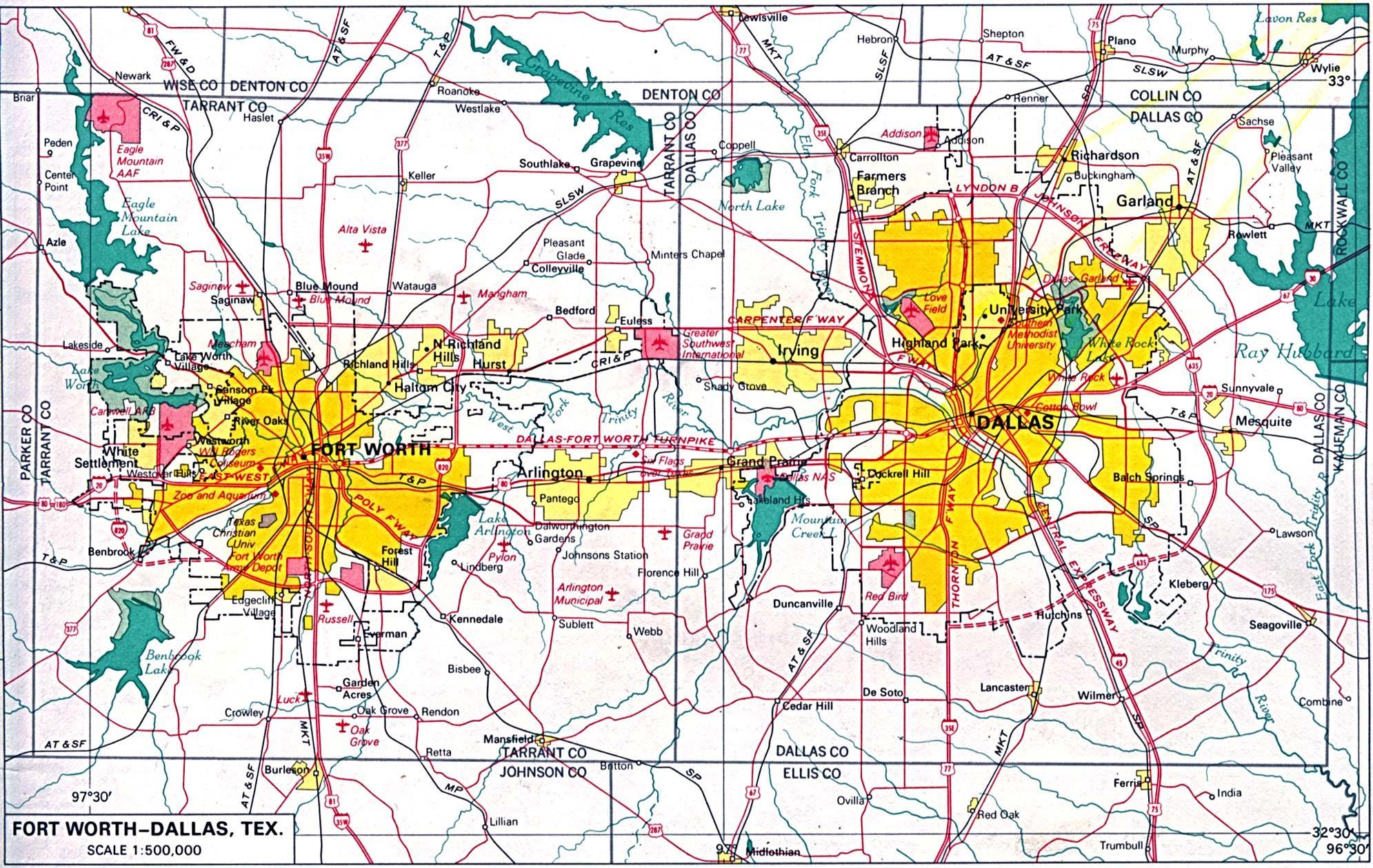 North Dallas map Map of north Dallas Texas USA