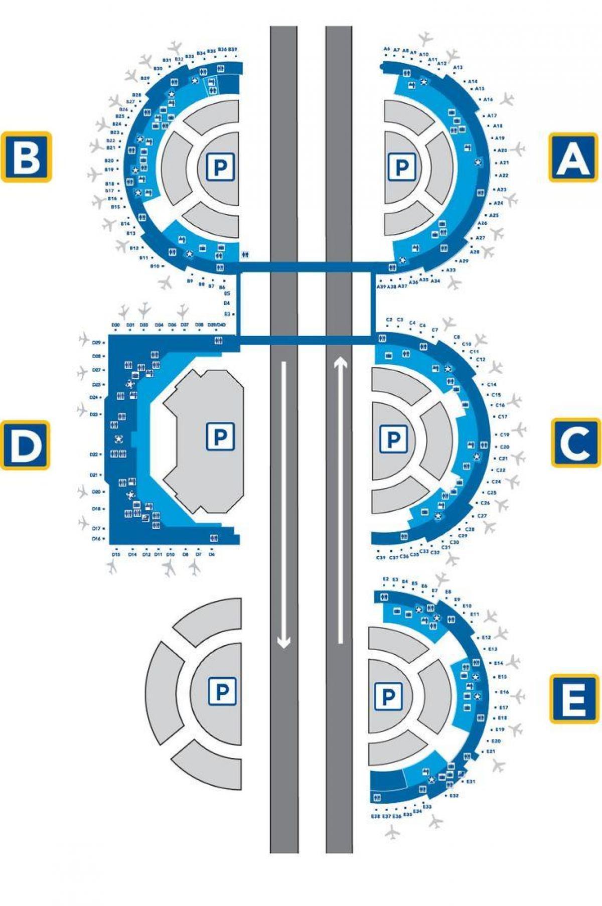 DFW terminal e map - DFW airport terminal e map (Texas - USA) on