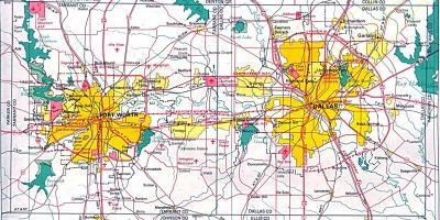DFW metroplex map - Dallas Fort Worth metroplex map (Texas - USA) on